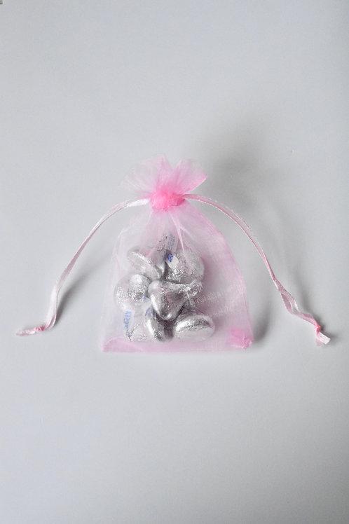 Baby Pink Organza Drawstring Bag