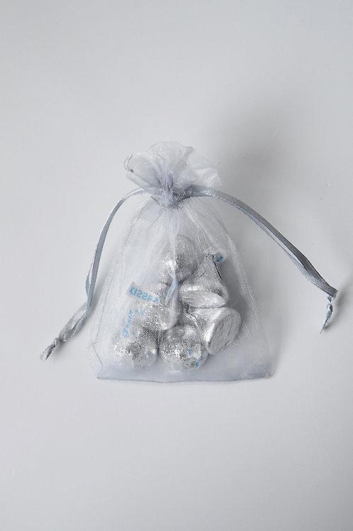Silver Organza Drawstring Bag