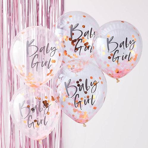 Baby Girl Confetti Balloons
