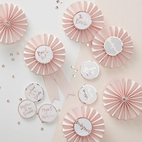 Pink & Rose Gold Bridal Shower Badges