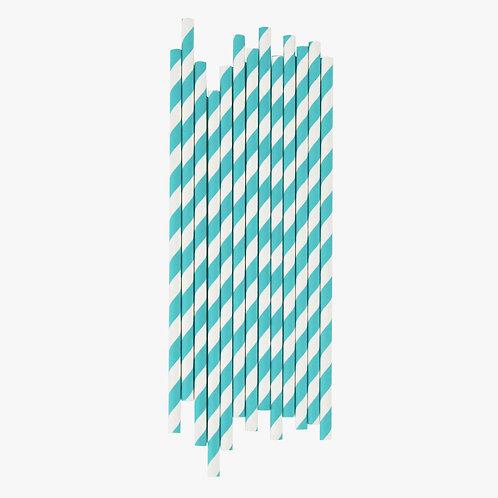 Turquoise Stripe Straws