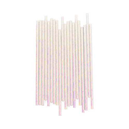 White Iridescent Straws
