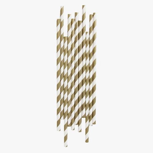 Gold Stripe Straws