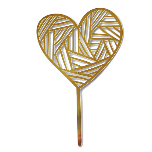 Etched Heart Cake Topper