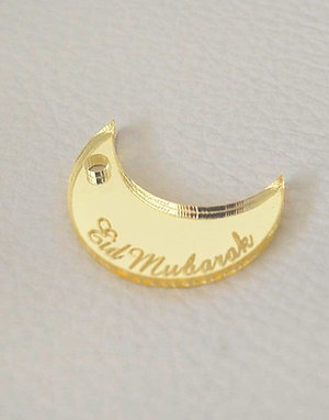 Gold Crescent Eid Mubarak Tags