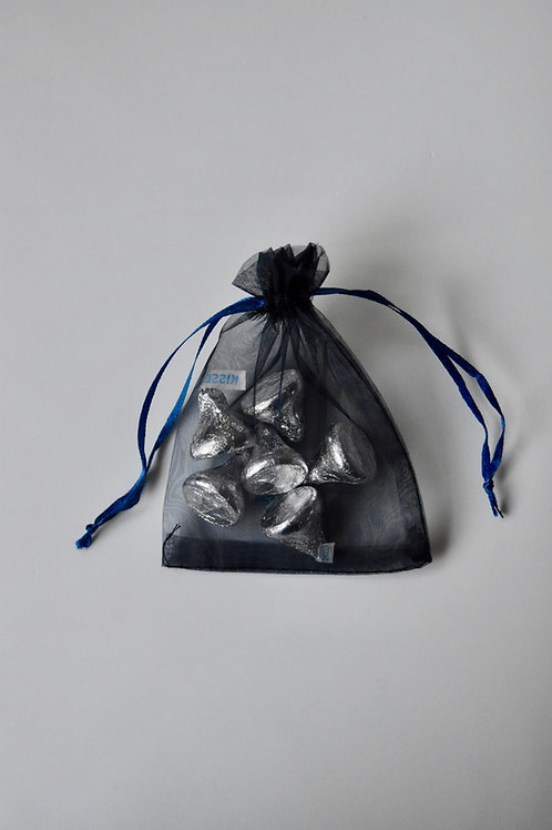 Midnight Blue Organza Drawstring Bag