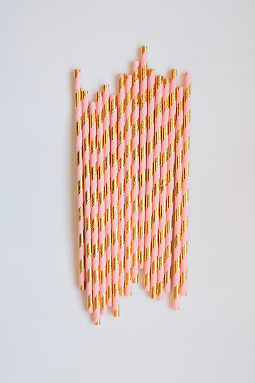 Pink & Gold Stripe Straws