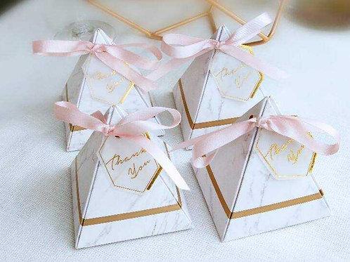 Gold Marble Pyramid Box