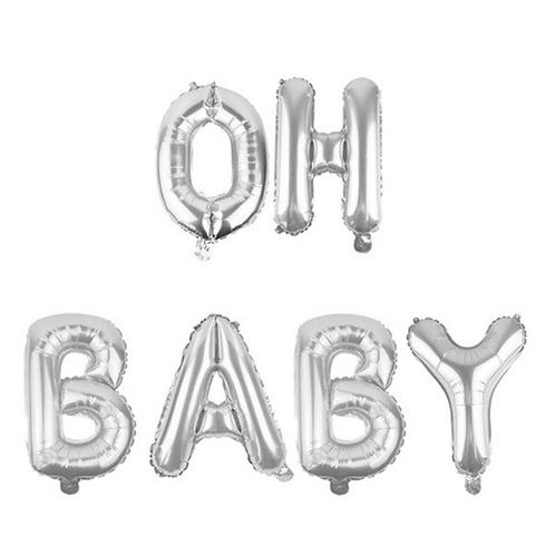 Silver Oh Baby Letter Balloons