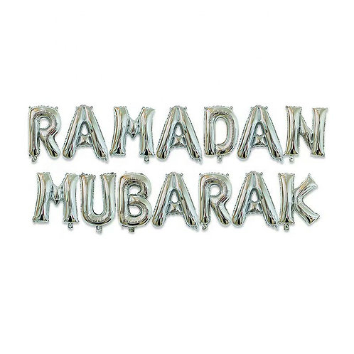 Silver Ramadan Mubarak Letter Balloons