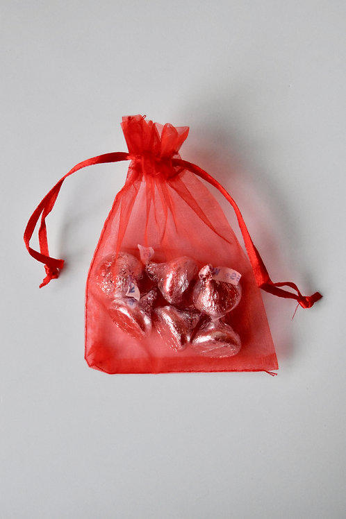 Red Organza Drawstring Bag