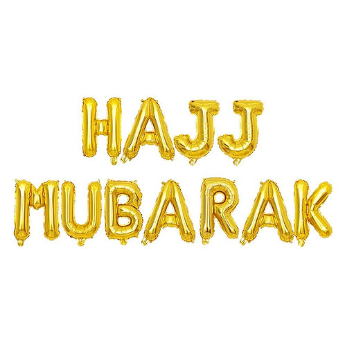 Gold Hajj Mubarak Letter Balloons