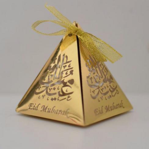 Gold Pyramid Eid Mubarak Box