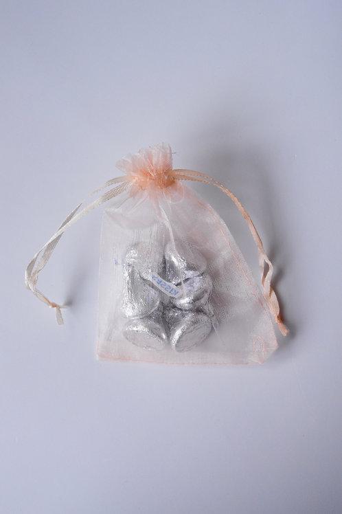Peach Organza Drawstring Bag