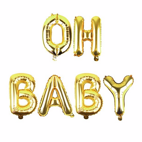 Gold Oh Baby Letter Balloons
