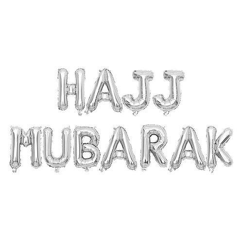 Silver Hajj Mubarak Letter Balloons