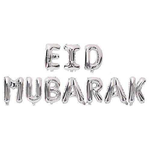 Silver Eid Mubarak Letter Balloons