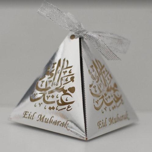 Silver Pyramid Eid Mubarak Box