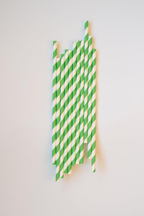 Green Stripe Straws