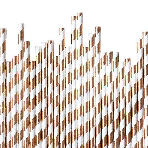 Rose Gold Stripe Straws