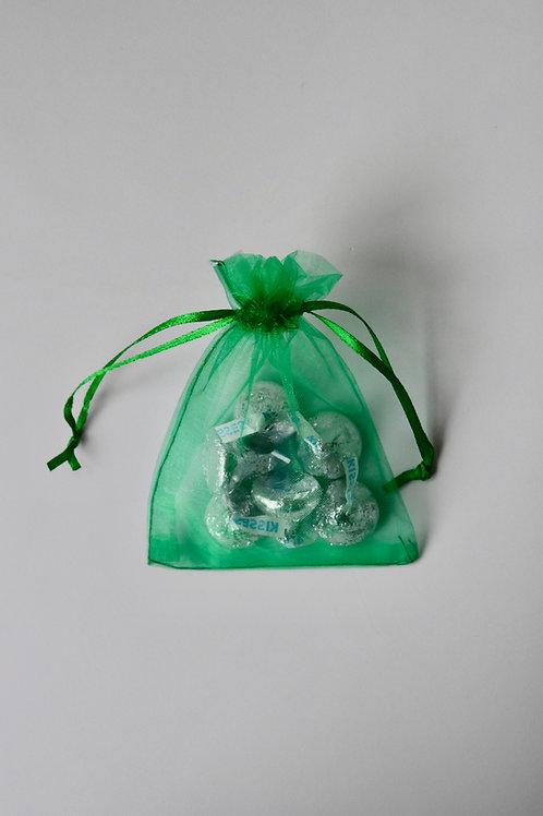 Emerald Green Organza Drawstring Bag