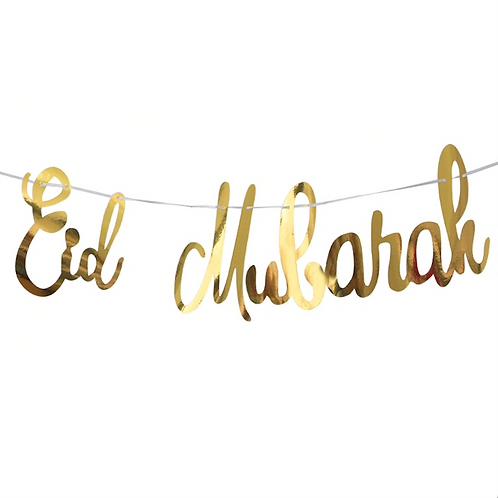 Gold Mirror Eid Mubarak Bunting