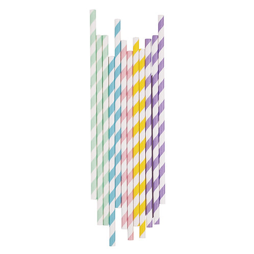 Pastel Mix Stripe Straws