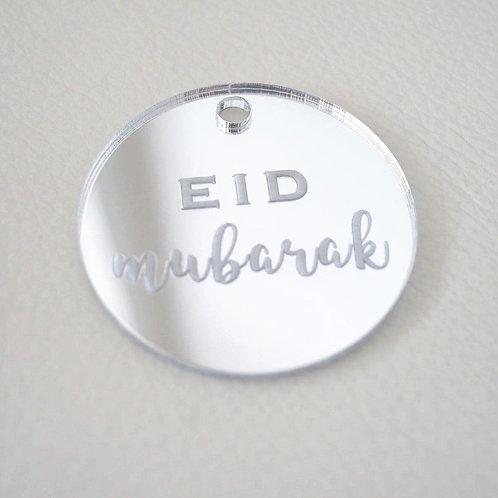 Silver Eid Mubarak Tags (Large)