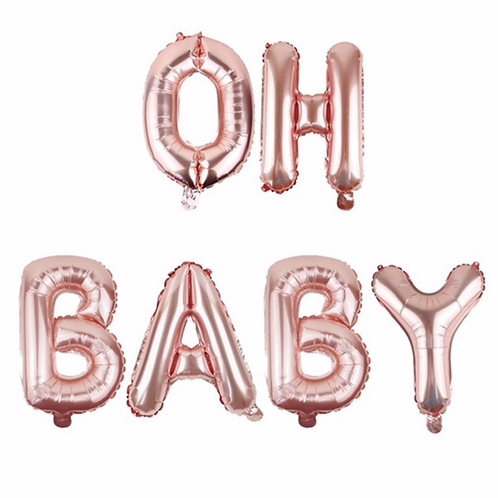 Rose Gold Oh Baby Letter Balloons