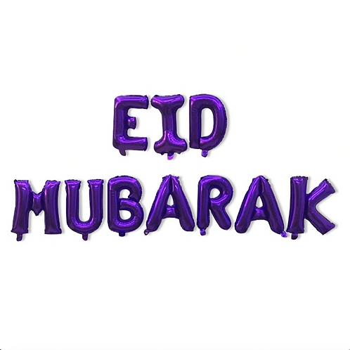Purple Eid Mubarak Letter Balloons