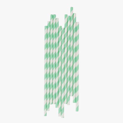 Pastel Green Stripe Straws