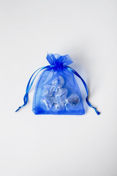 Royal Blue Organza Drawstring Bag