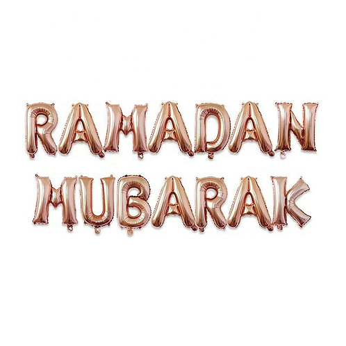 Rose Gold Ramadan Mubarak Letter Balloons