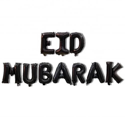 Black Eid Mubarak Letter Balloons
