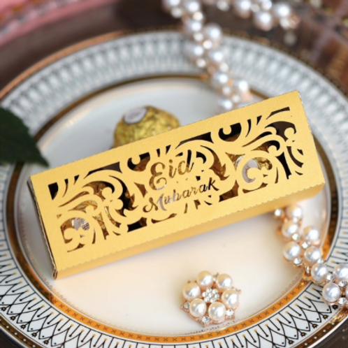 Shimmery Gold Eid Mubarak Favour Box