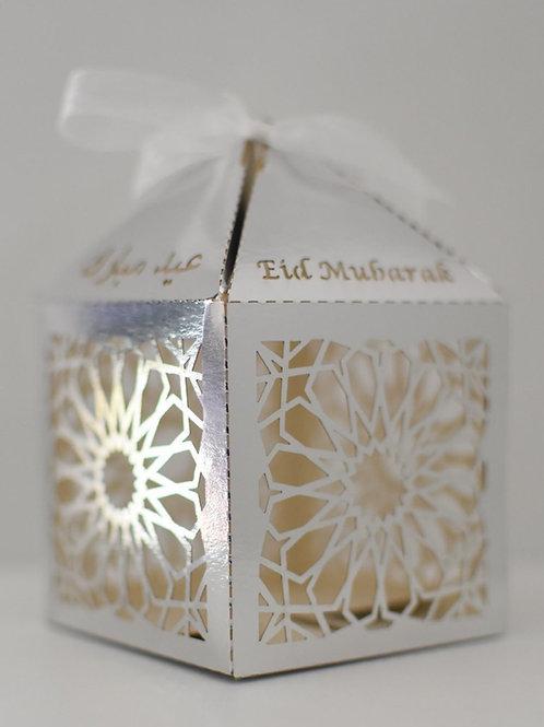 Silver Geometric Eid Mubarak Box