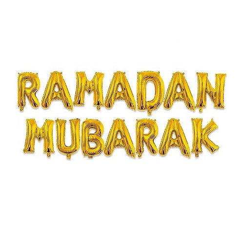 Gold Ramadan Mubarak Letter Balloons
