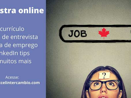 Palestra online job search e currículo no Canadá