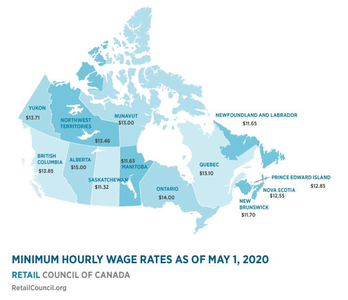 Salário mínimo Canadá - Valores de cada província no Canadá