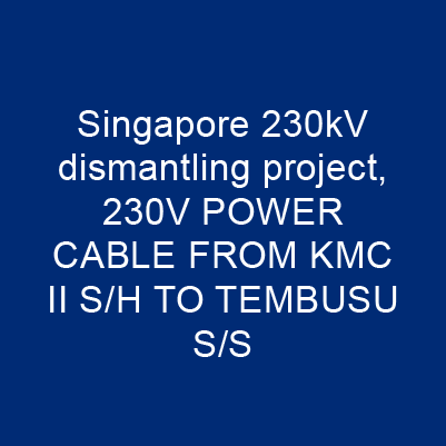新加坡230kV 拆解專案、 230V POWER CABLE FROM KMC II S/H TO TEMBUSU S/S