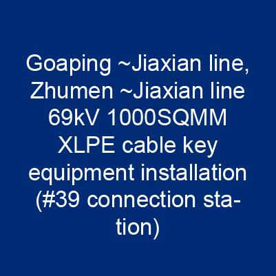 高屏~甲仙線、竹門~甲仙線69kV 1000SQMM XLPE電纜關鍵性器材安裝(#39連接站)