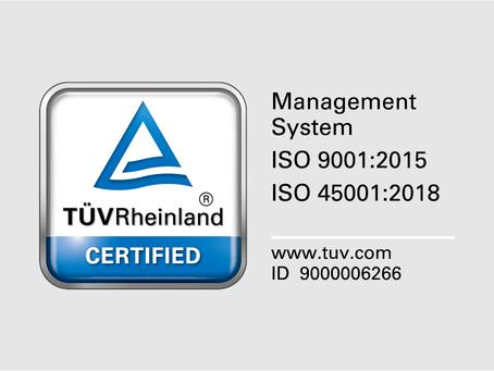 通過ISO 9001 & 45001正式評鑑稽核