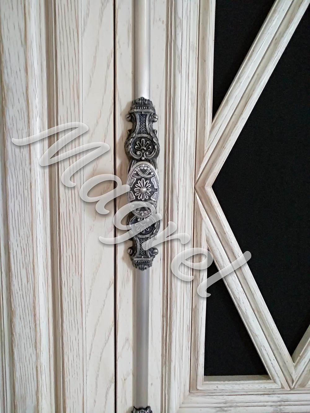 Кремон для шкафа раздвижной шпингалет латунный состаренное серебро