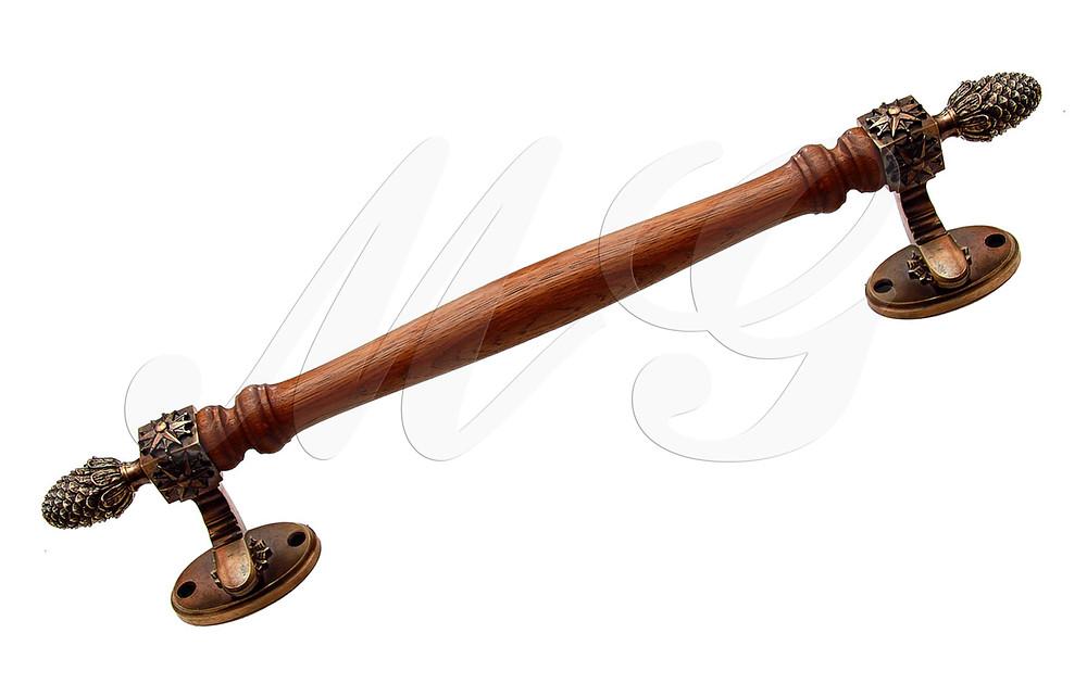 Ручка латунная скоба для входной двери с наконечниками