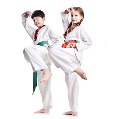 Two children athletes martial art taekwo