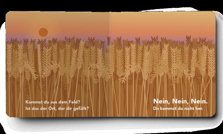 Pappbilderbuch von innen. Es ist augeschlagen. Ein Mockup von Pappebilderbüchern. Feld im Sonnenuntergang. Weizen Strohfeld. Sonnenaufgang. Kinderbuch. Babybuch. Blick ins Buch.