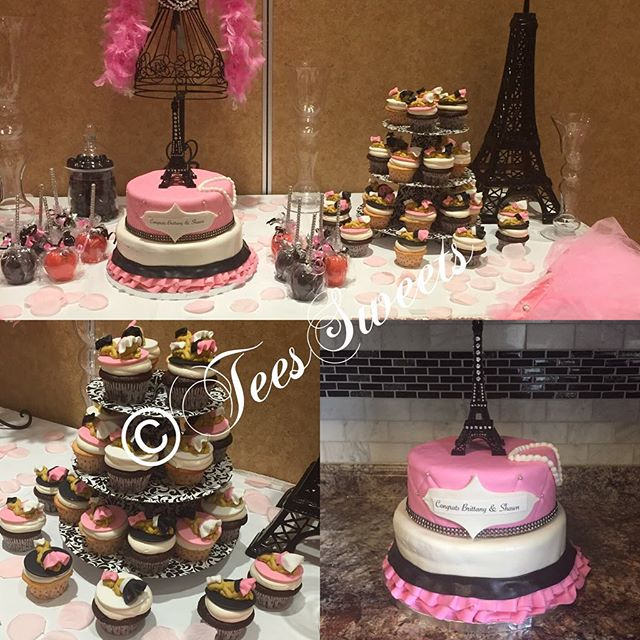 Paris Themed Cake & Cupcakes 😆🎀💖🎂