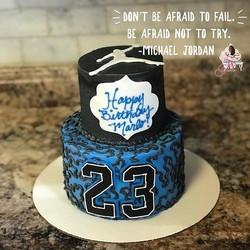 Mini tiered Jordan inspired cake 🎂👟🏀