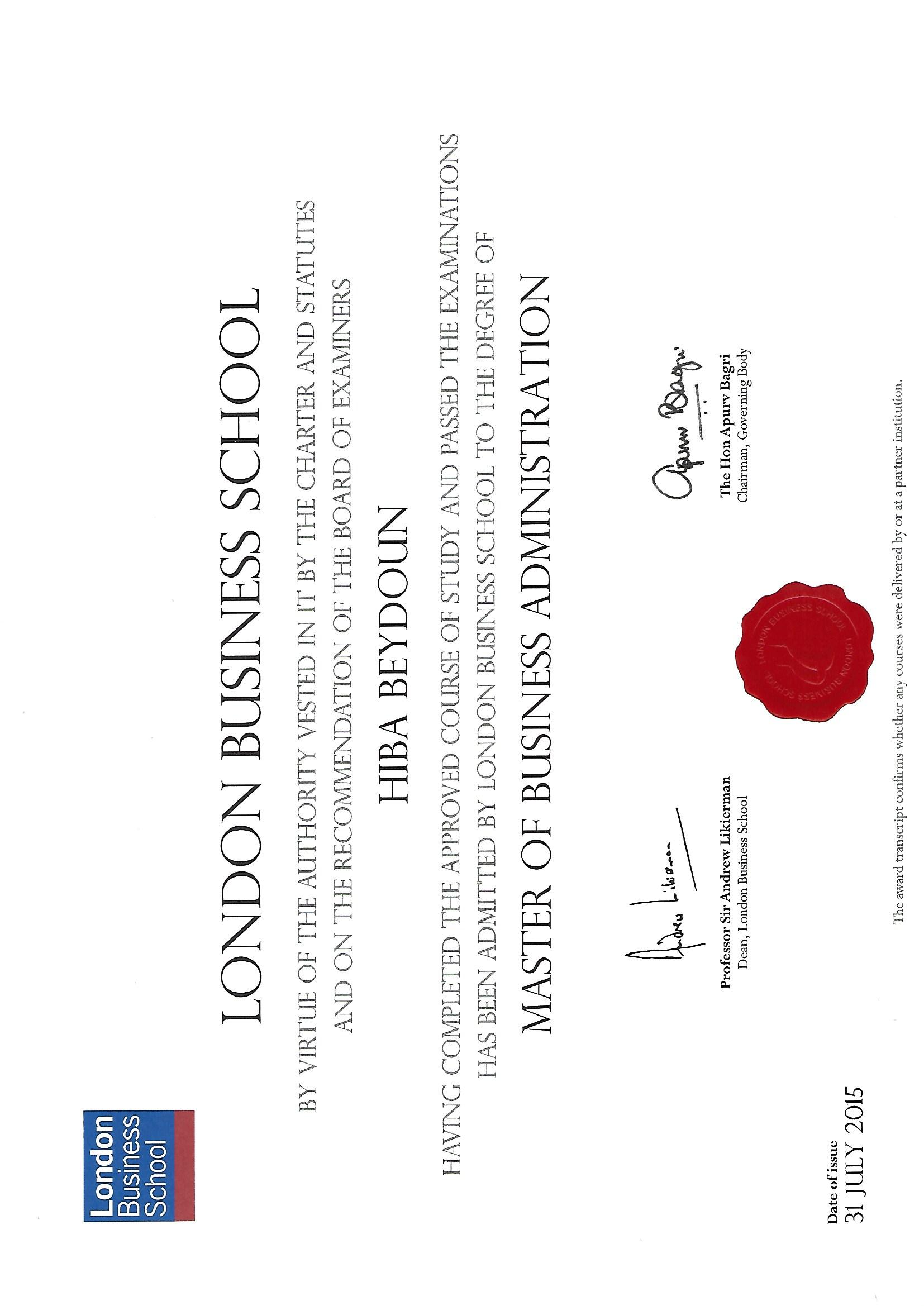 LBS MBA Certificate