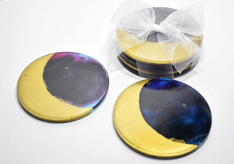 Golden Crescent Moon Coasters (4 Set)